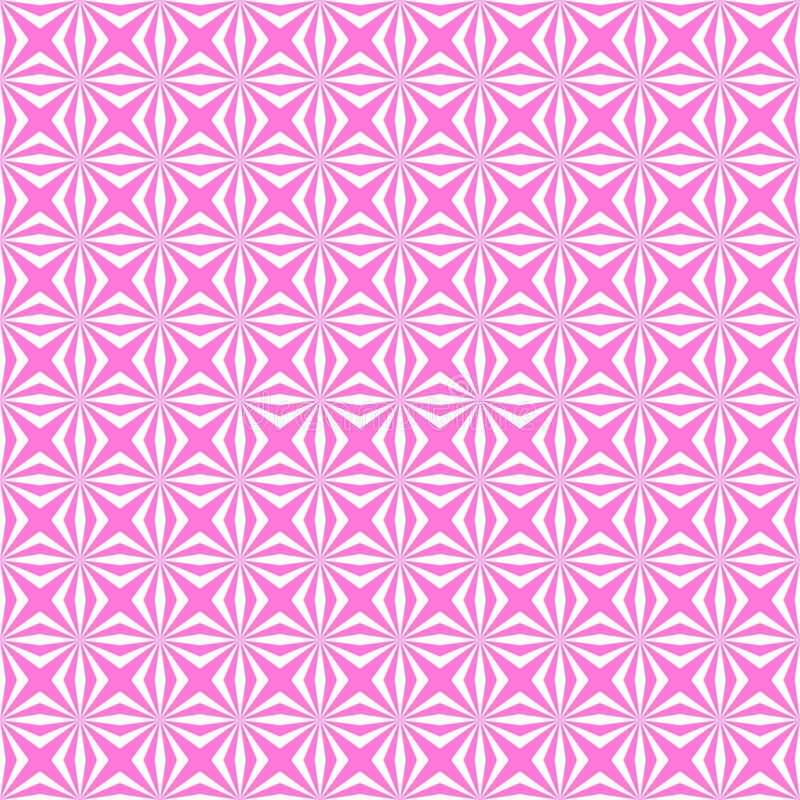 Abstract White Geometric Seamless Floral Pattern in Pink Background stock illustration