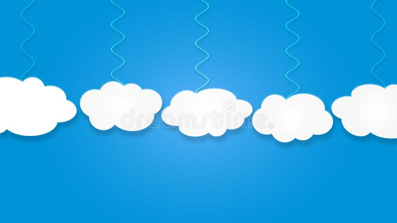 Abstract White Clouds Hanging in Blue Sky Background stock illustration