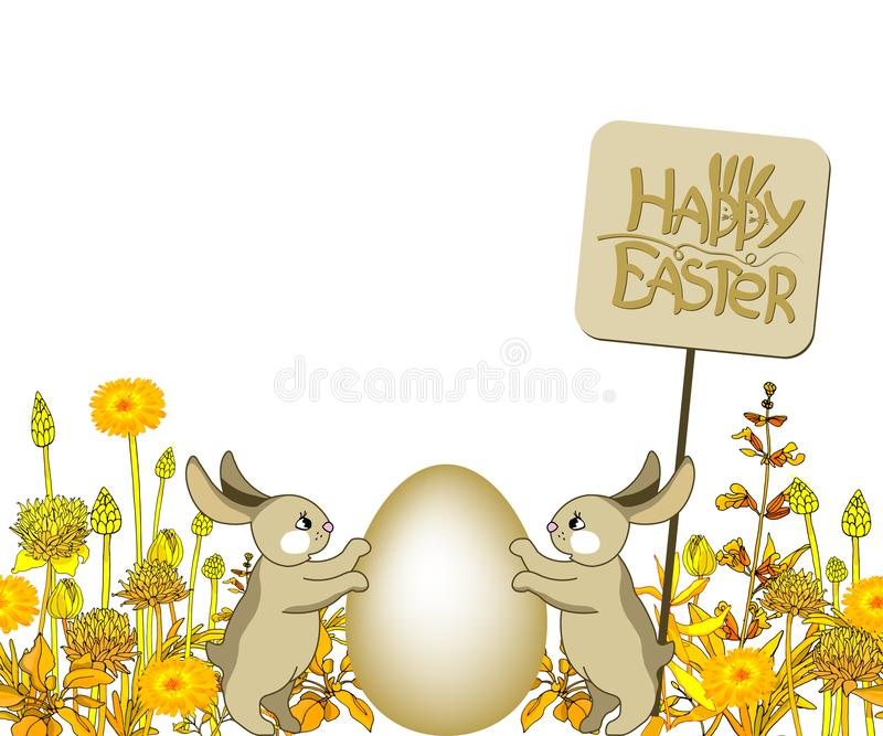 Happy Easter lettering with Easter Bunny Ears. vector illustration