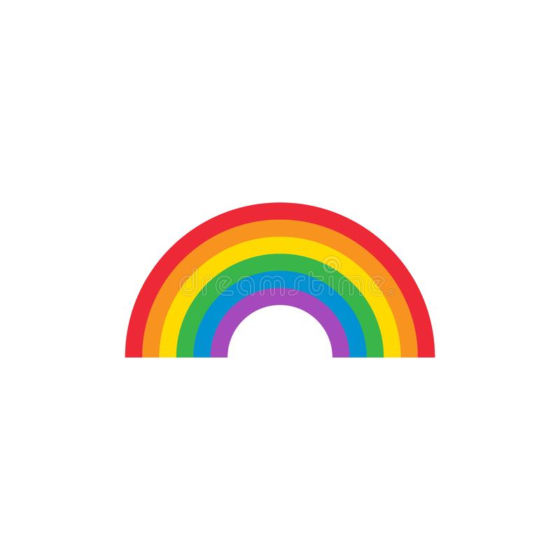 Rainbow arch colorful vector icon with primary color spectrum. stock illustration