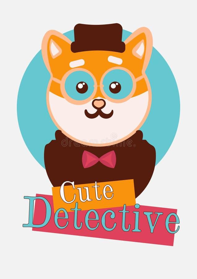 Kawaii shiba dog detective t shirt illustration. Typography slogan vector for t shirt printing stock image