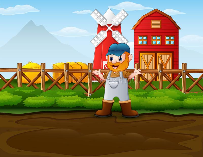 Happy farmer man standing in front of his barn. Illustration of Happy farmer man standing in front of his barn vector illustration