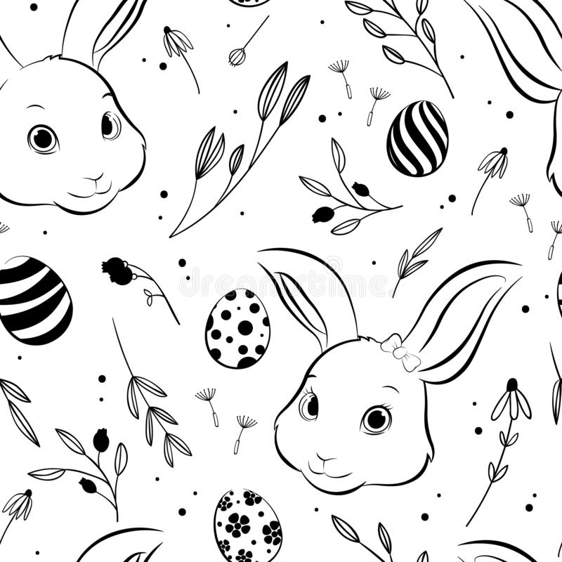 Easter bunny and Easter egg seamless pattern, hand drawing style. Vector Illustration royalty free illustration