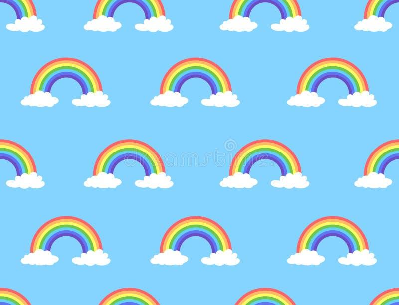Vector illustration of rainbow and cloud seamless pattern vector illustration