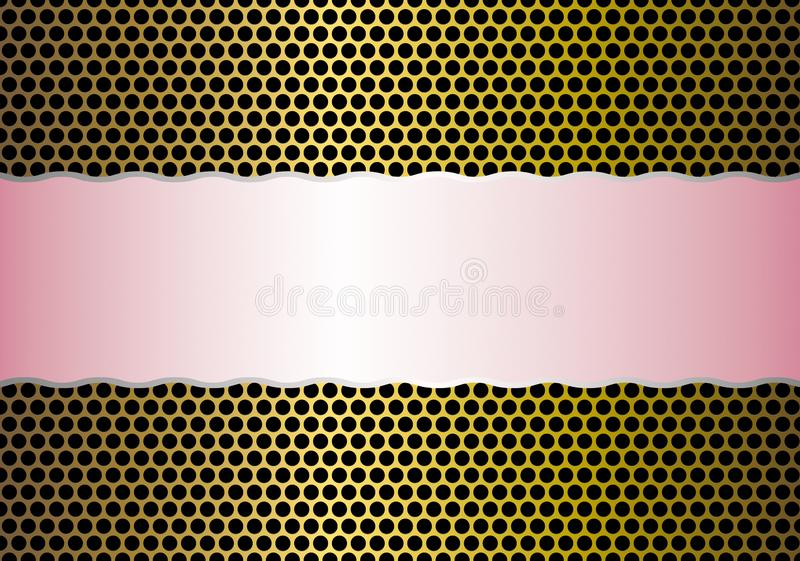 Pink Band in Shining Golden Perforated Metal Mesh Background. Abstract shiny seamless golden perforated metal mesh pattern with a pink band in the middle for stock photos
