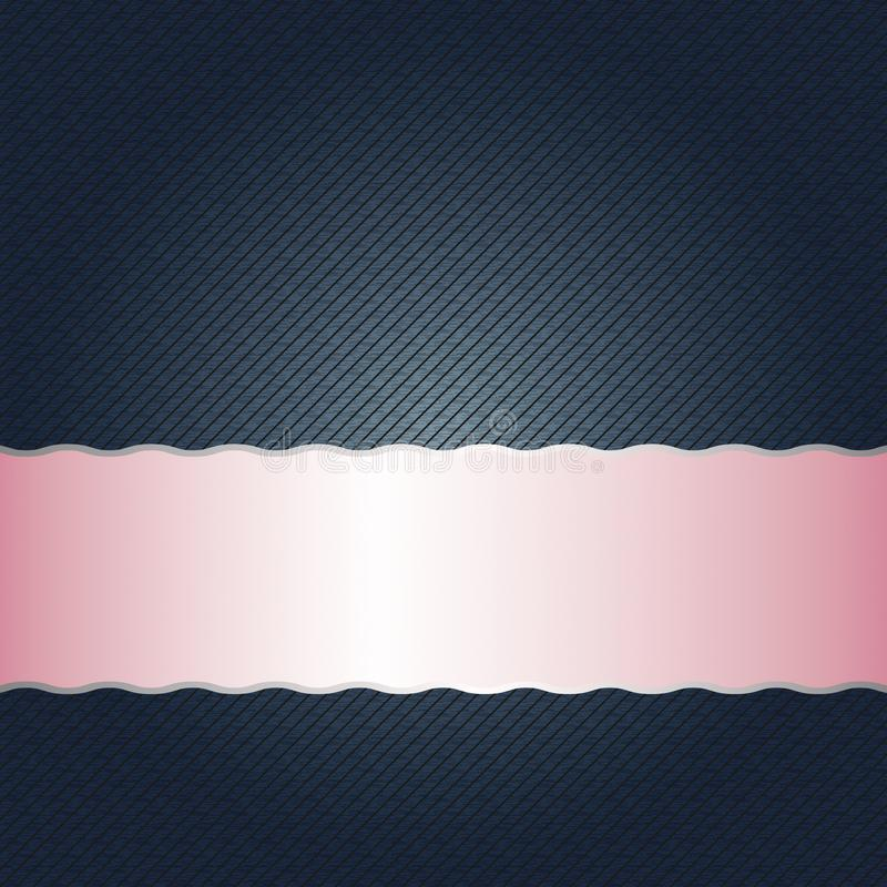 Empty Shining Pink Metallic Band on Dark Blue Background with Seamless Diagonal Stripes Texture. Illustration of a pink metallic band on dark blue background royalty free illustration