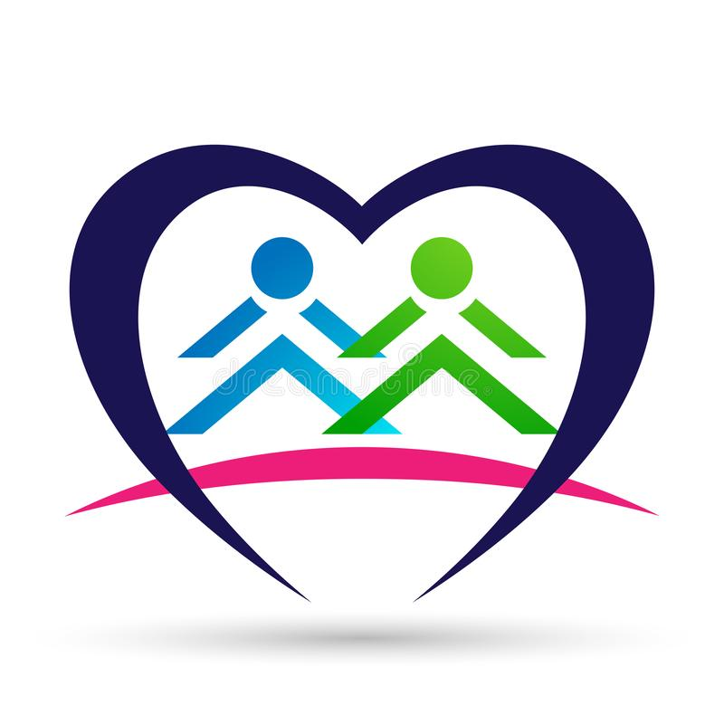 Kids hand holding icon in heart logo in love union team concept on white background vector illustration