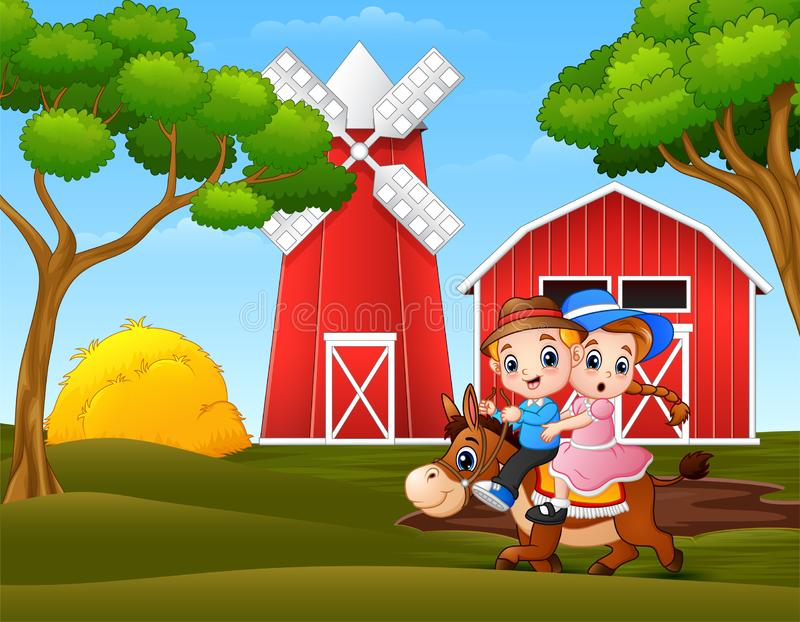 Happy boy and girl riding a horse in farm landscape royalty free illustration