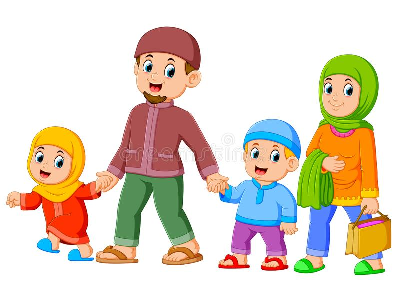 A happy family are walking together with their new clothes for celebrating ied mubarak. Illustration of A happy family are walking together with their new royalty free illustration