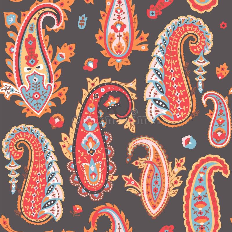 Oriental paisley pattern. Colourful seamless wallpaper. royalty free illustration