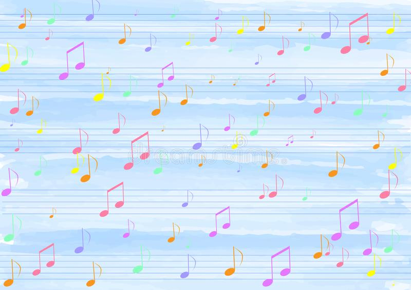 Colorful Music Notes in Blue Watercolor Pattern Background. Illustration of colorful music notes flowing on straight staves in blue watercolor striped texture vector illustration