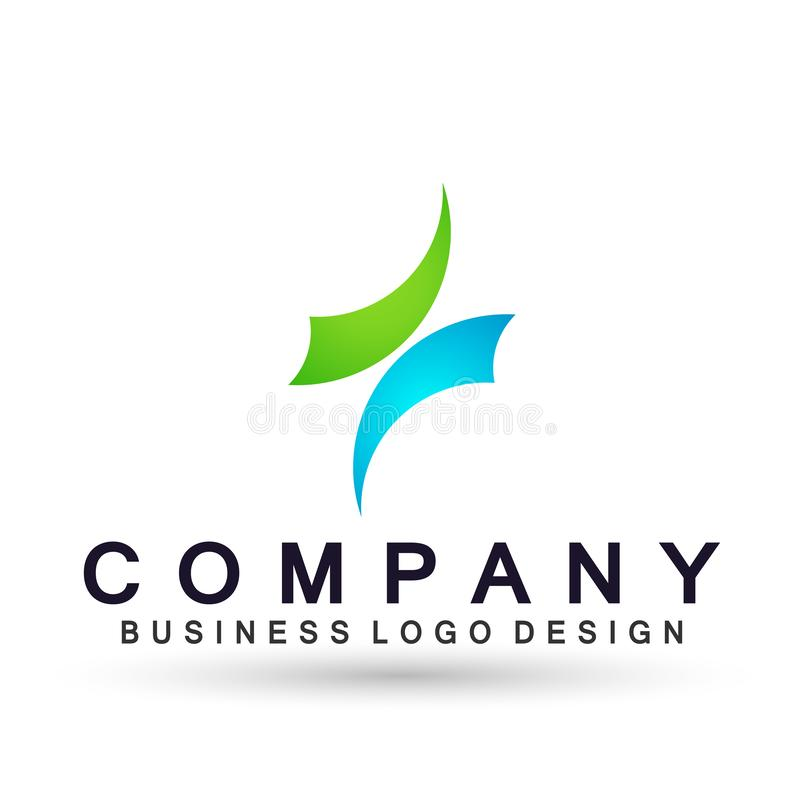 Arrows shaped two direction focused on Corporate Invest Business Logo design. Financial Investment Logotype concept icon. Arrows shaped two directions focused on vector illustration