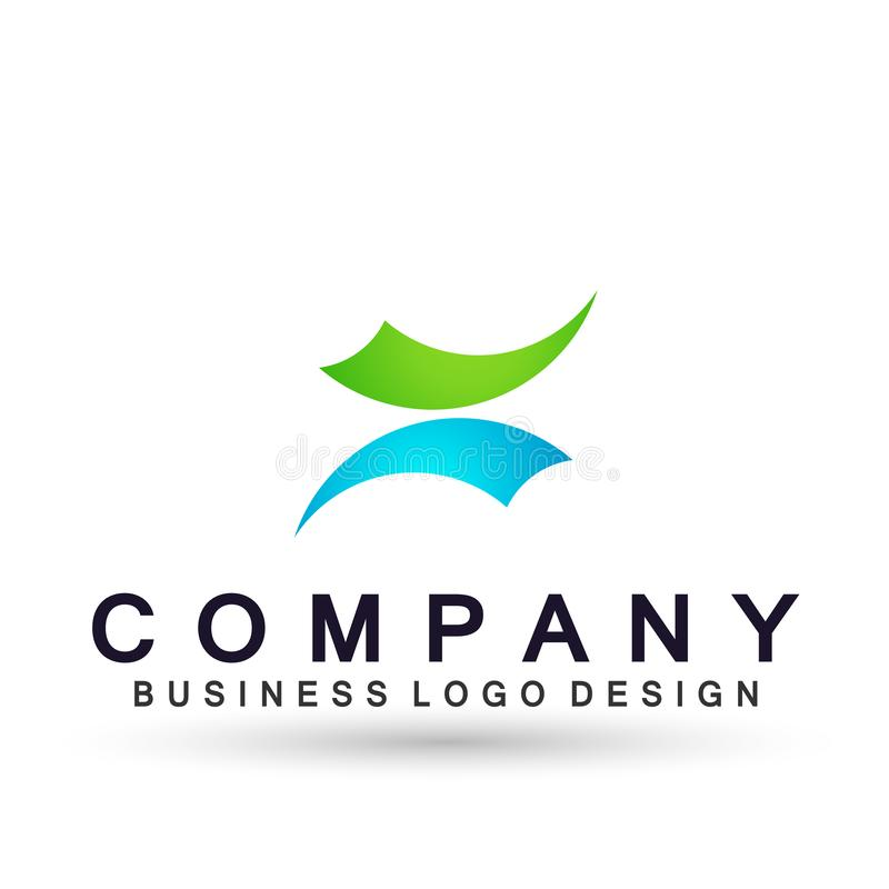 Arrows shaped two direction focused on Corporate Invest Business Logo design. Financial Investment Logotype concept icon. Arrows shaped two directions focused on royalty free illustration