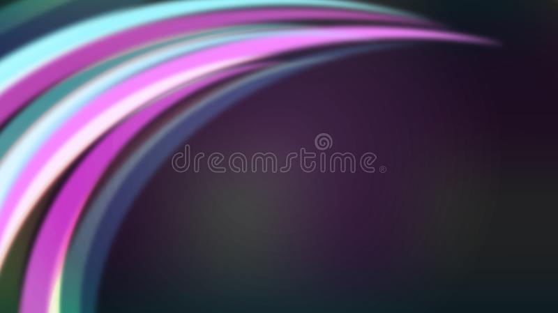 Abstract Colorful Curves or Light Rays in Dark Purple Background stock illustration