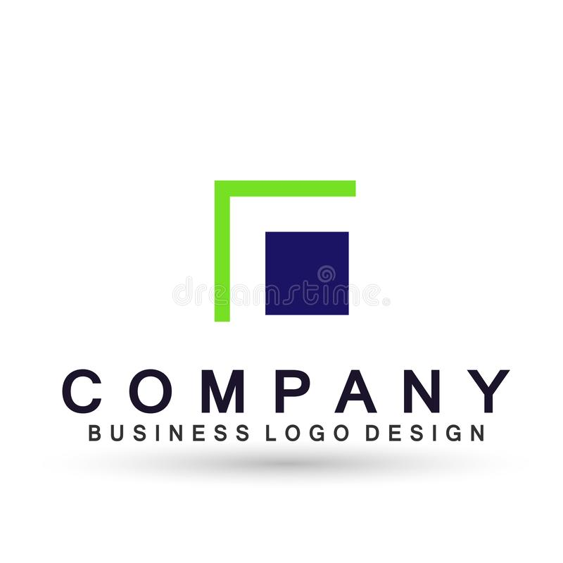 Abstract square shaped logo for business company. Corporate identity design element. Technology square, network, union team invest. Icon in ai 10 illustrations stock illustration