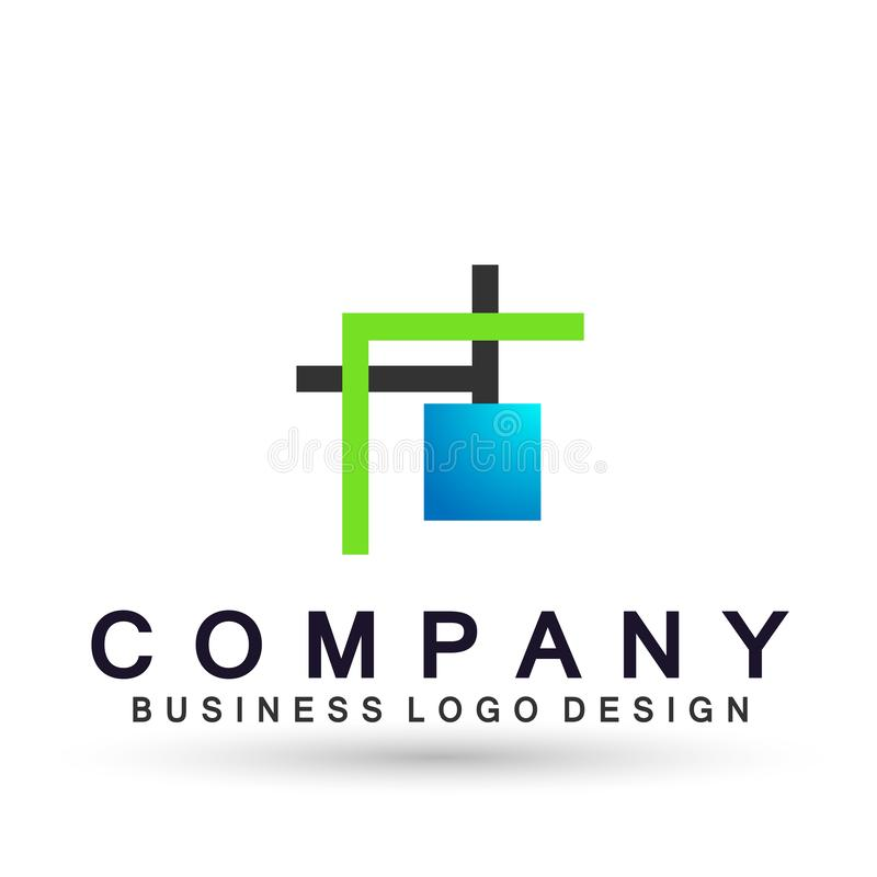 Abstract square shaped logo for business company. Corporate identity design element. Technology square, network, union team invest. Icon in ai 10 illustrations vector illustration