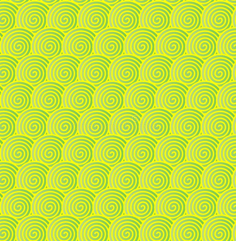 Seamless Green and Yellow Spirals Pattern Background. Seamless yellowish green spirals texture for web background, wallpaper, banner or poster template. Vector vector illustration