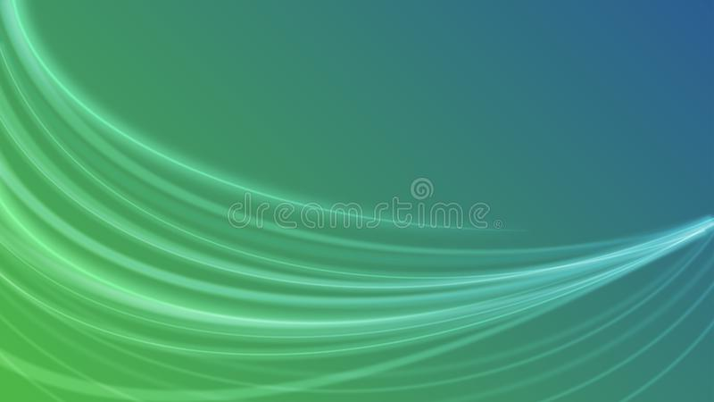 Abstract Shiny White Curves or Light Rays in Green and Blue Gradient Background stock illustration