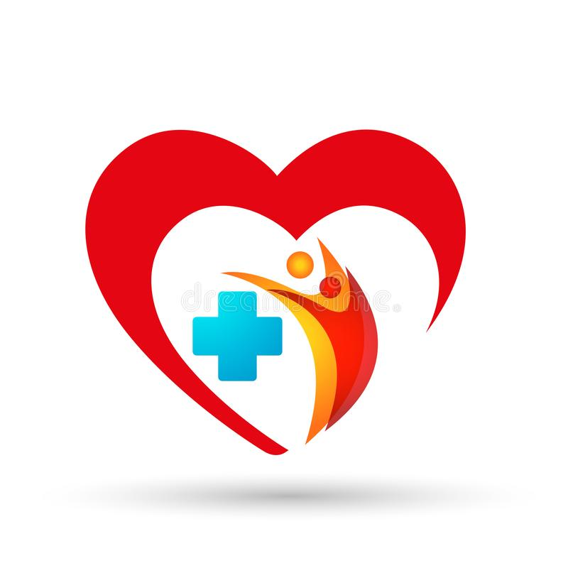 Family Heart clinc care medical health people  doctor logo icon  wellness health symbol on white background stock illustration