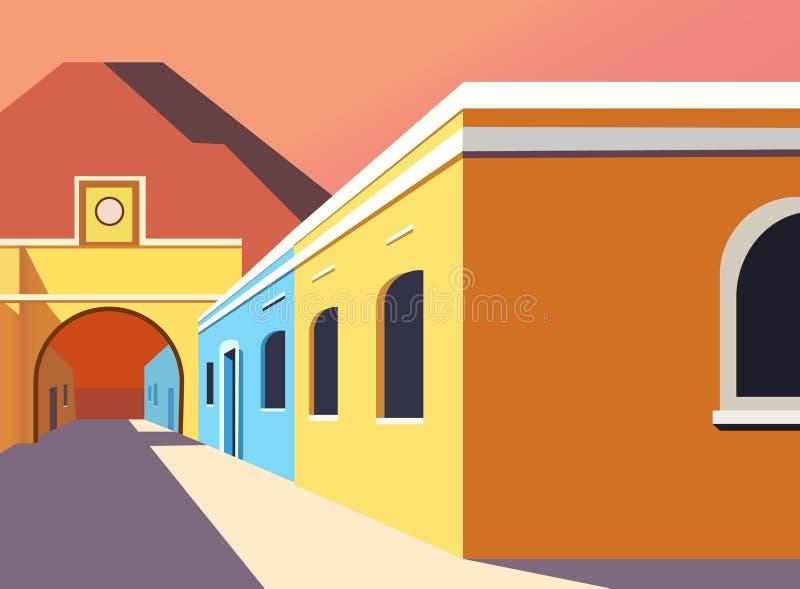 Creative modern building illustration design. Creative colorful illustration building houses cartoon art design background windows sky stock illustration