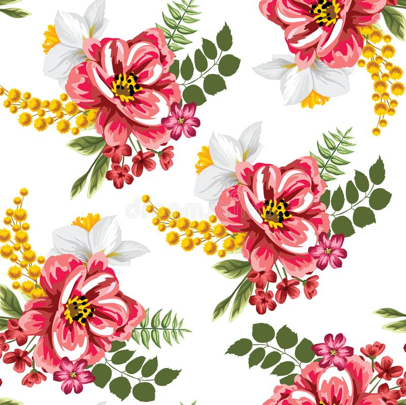 Seamless tropical flower with leaves small flowers pattern. Background design stock illustration