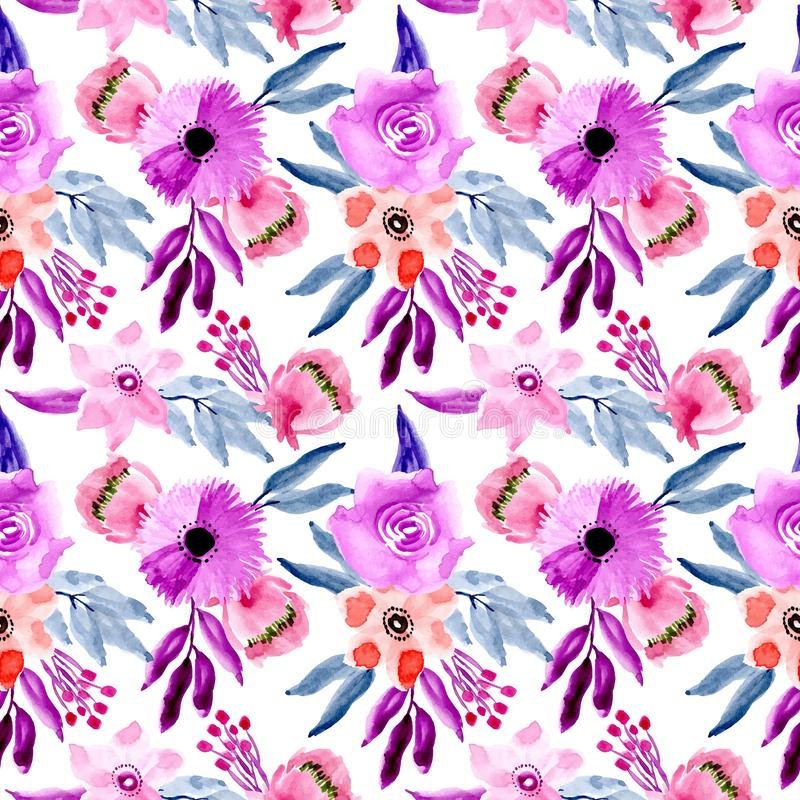 Blue purple watercolor floral pattern. Beautiful, fabric, pink, wedding, background, card, garden stock illustration