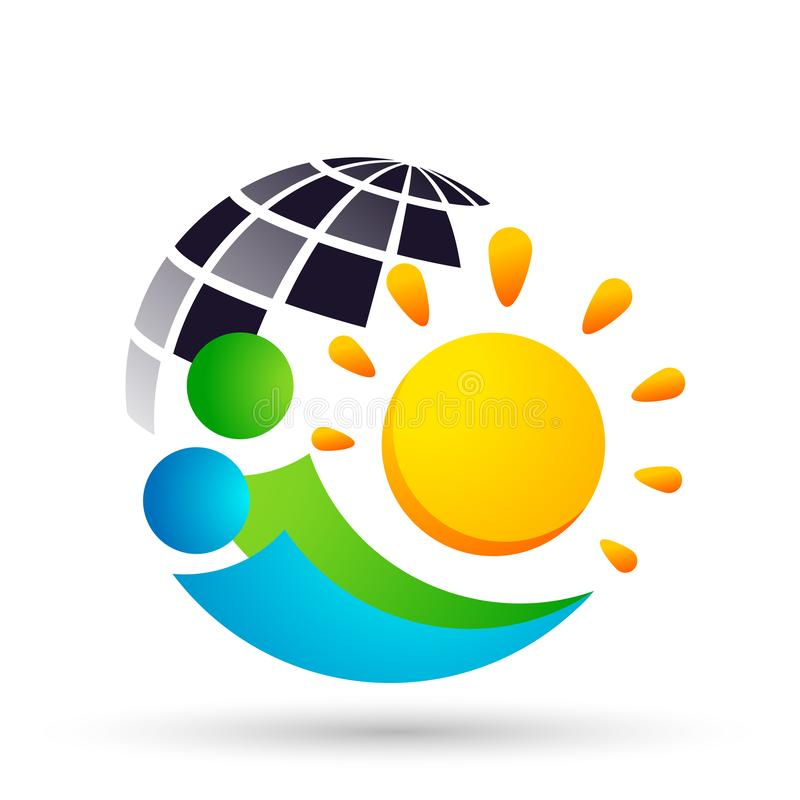 People Sun globe logo icon vector element for web design mobile and infographics Computer concept on white background. In ai10 illustrations vector illustration
