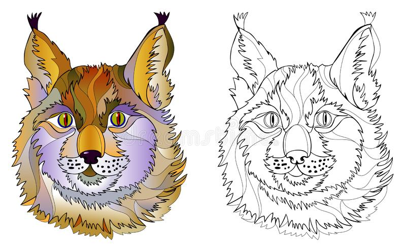 Colorful and black and white page for coloring book. Hand-drawn illustration of cute lynx head. Printable worksheet for children. stock illustration