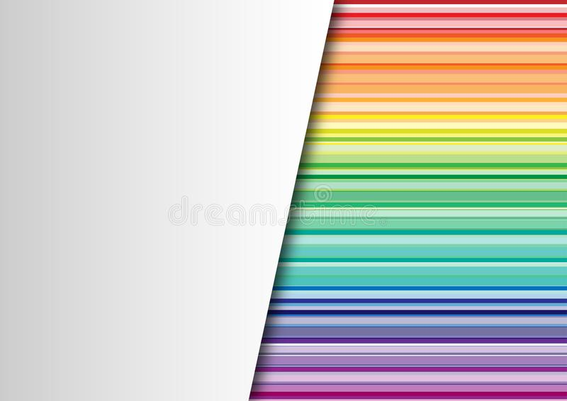Abstract Rainbow Colors Horizontal Stripes Texture Background with An Overlaid Blank White Paper royalty free illustration