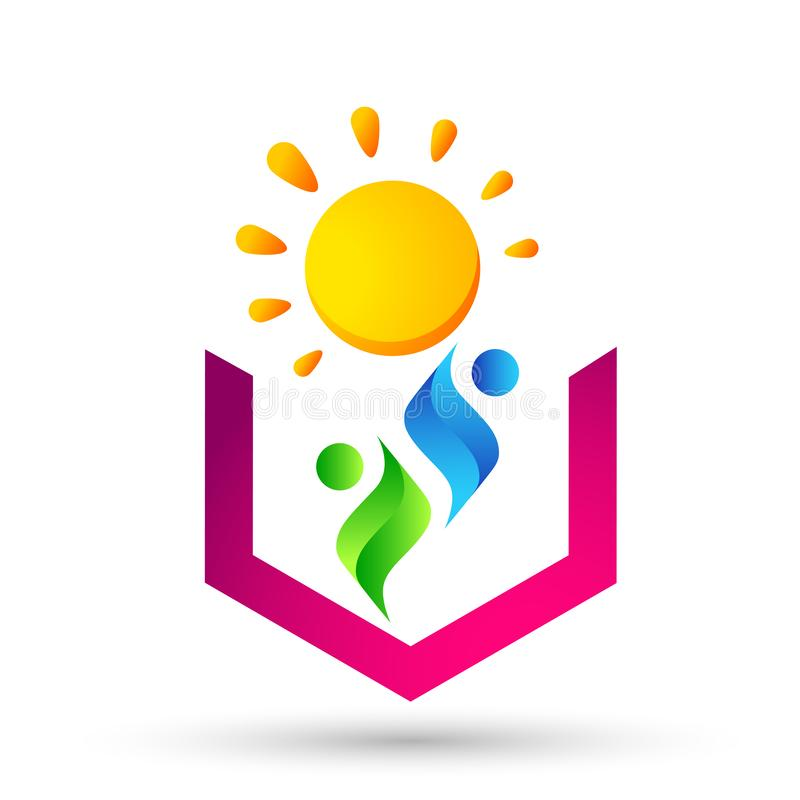 People Sun logo icon vector element for web design mobile and infographics Computer concept on white background. In ai10 illustrations vector illustration
