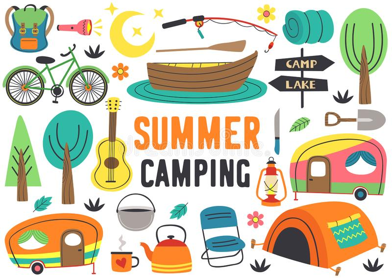 Set of isolated summer camping elements part 2. Vector illustration, eps vector illustration