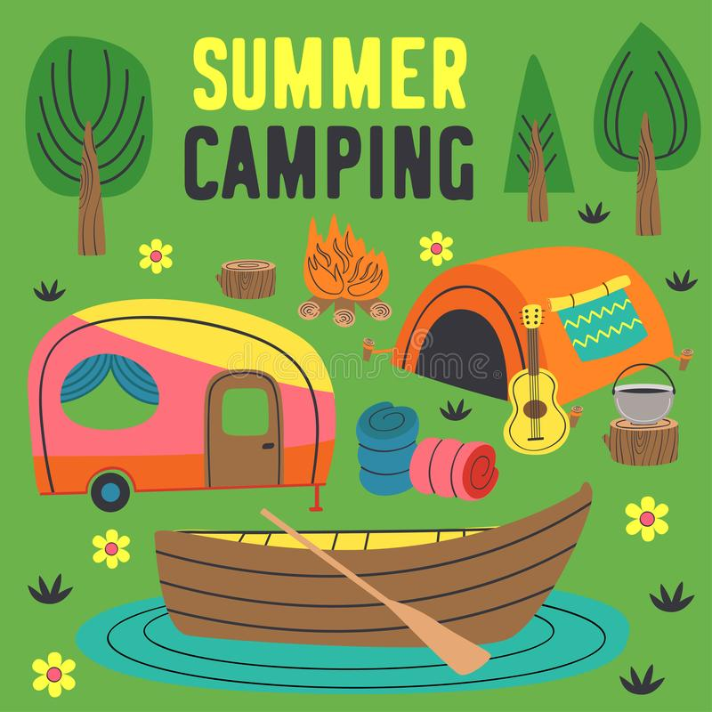 Summer camping poster with a tent, a trailer and a boat. Vector illustration, eps stock illustration