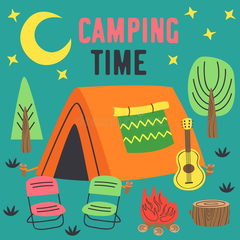 Camping time poster with a tent in night stock illustration