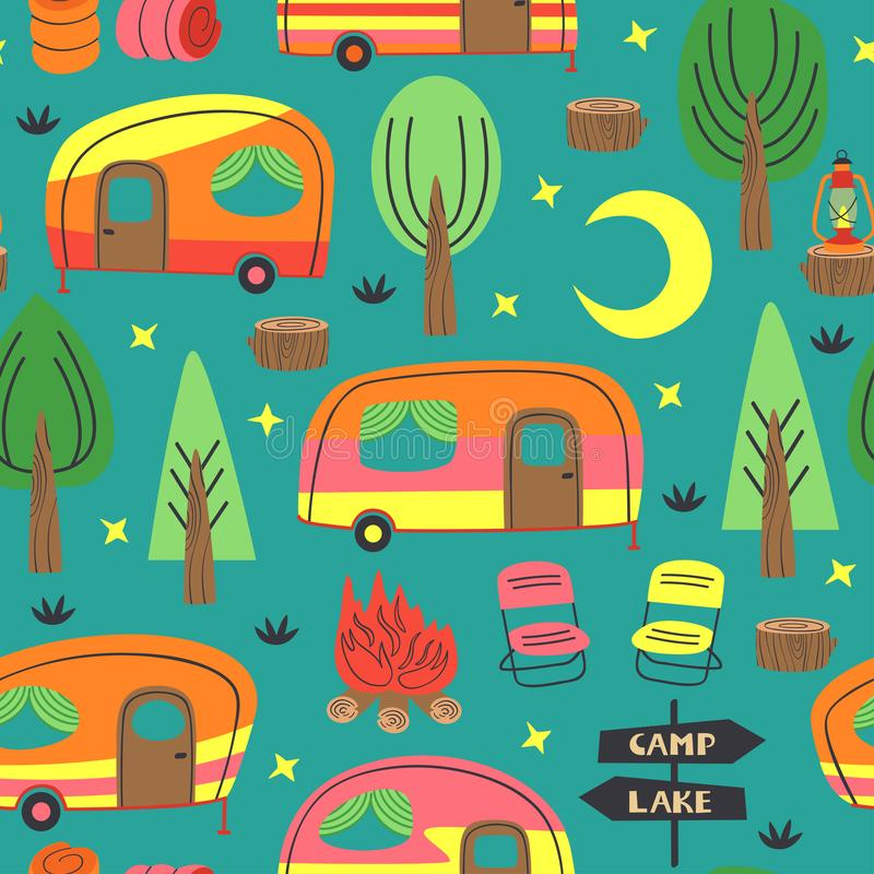 Seamless pattern with  camping  trailer stock illustration