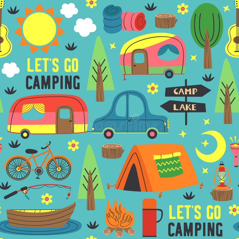 Seamless pattern with summer camping vector illustration
