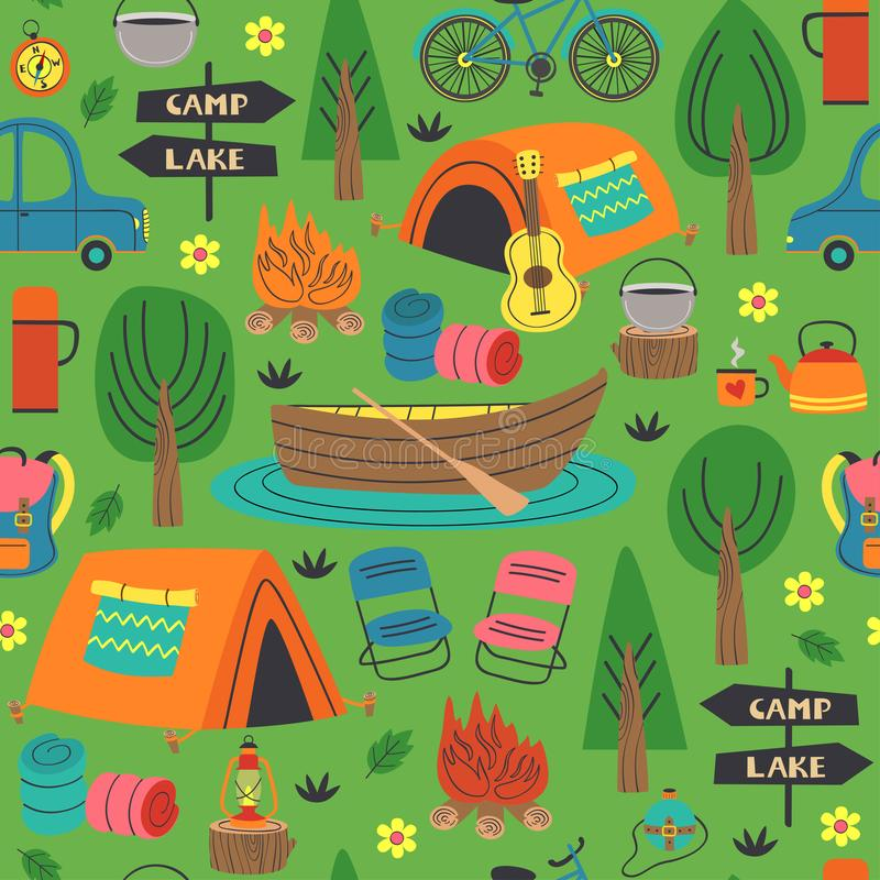 Seamless pattern with summer camping in forest royalty free illustration