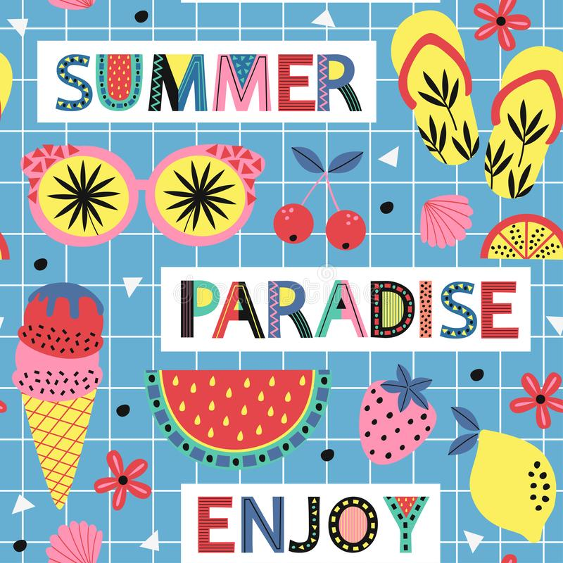Seamless pattern with summer paradise on blue background royalty free illustration