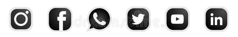 Set of popular social media logos icons Instagram Facebook Twitter Youtube WhatsApp linkedin element vector on white background stock illustration