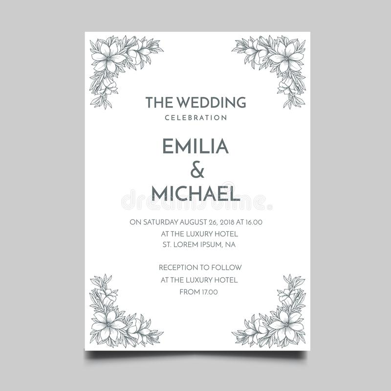 Floral Wedding Invitation Template Simple and Elegant Design. Vector vector illustration