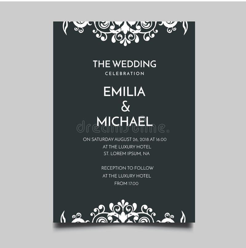 Floral Wedding Invitation Template Simple and Elegant Design. Vector stock illustration