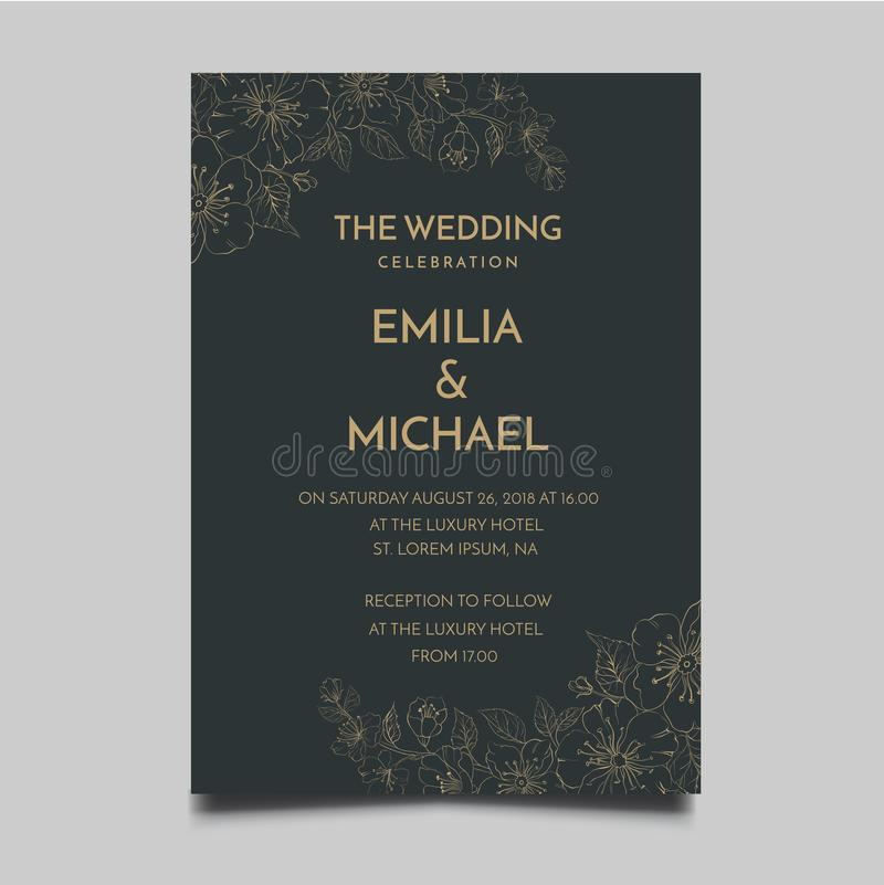 Floral Wedding Invitation Template Simple and Elegant Design stock illustration