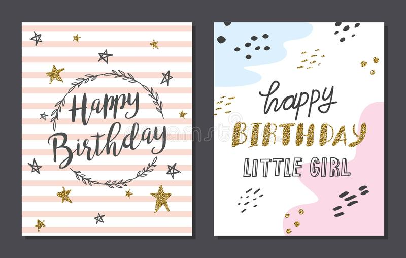 Set of cute birthday card templates. Design, vector version available royalty free illustration