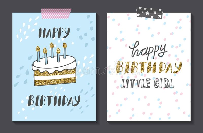 Set of cute birthday card design template. Vector version available stock illustration