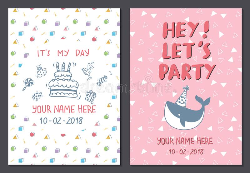Set of cute birthday card design template stock illustration