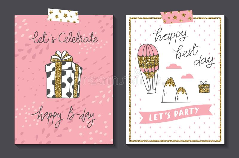 Set of cute birthday card design template. Vector version available royalty free illustration