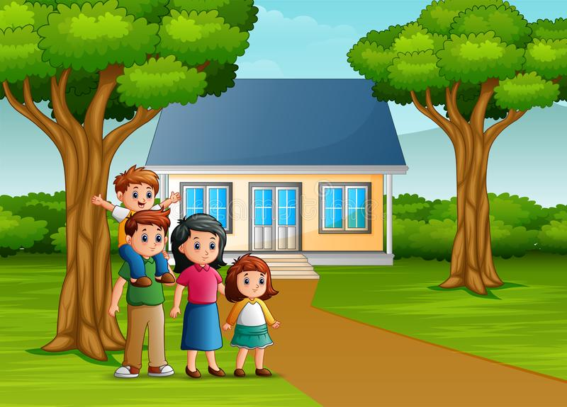 Cartoon family in front of the house yard royalty free illustration