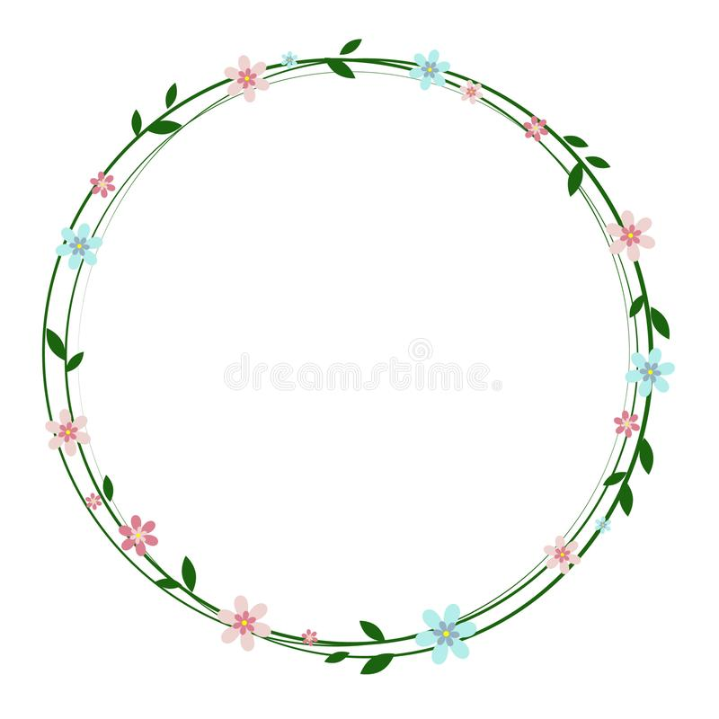 Floral text circle frame hand drawn flat layout. Decorative round border with vector blossom. royalty free illustration