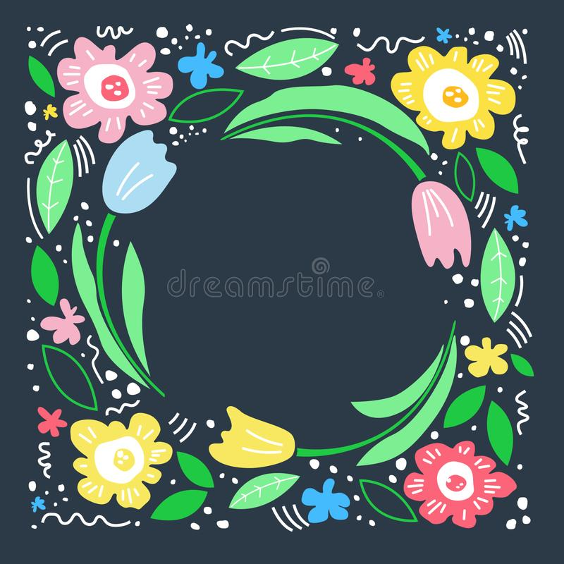Floral text circle frame hand drawn flat layout. Cool mom royalty free illustration