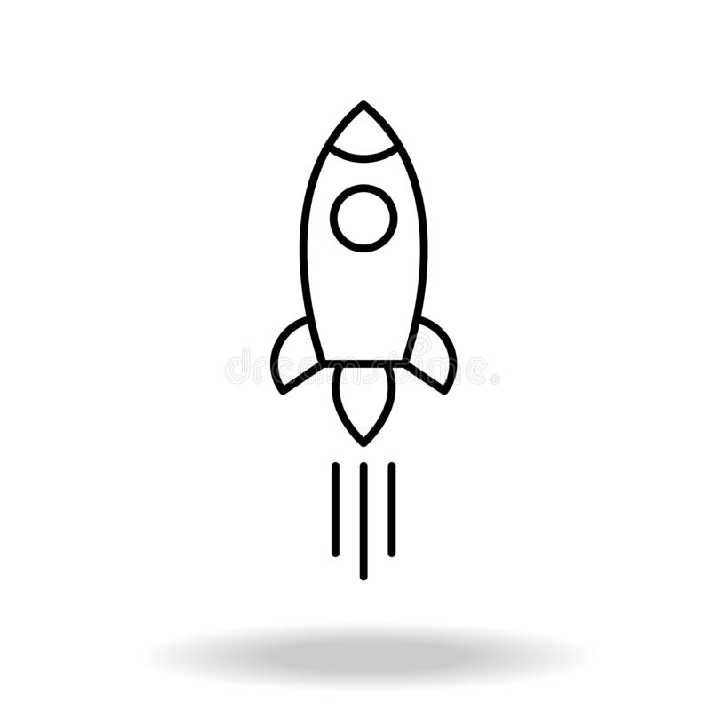 Outline rocket ship with fire. Isolated on white. Flat line icon. Vector illustration with flying rocket. Space travel. Project st royalty free illustration