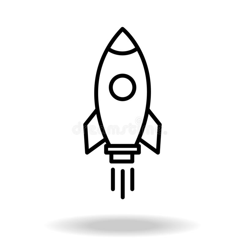 Outline rocket ship with fire. Isolated on white. Flat line icon. Vector illustration with flying rocket. Space travel. Project st stock illustration